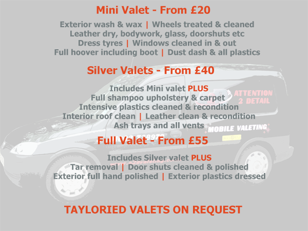 A2D Valeting Prices